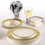 Cream Gold Lace Border Premium Tableware