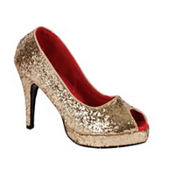 Gold Glitter Peep-Toe Shoes