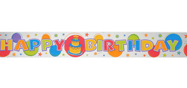 Happy Birthday Metallic Banner 12ft