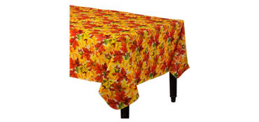 Elegant Leaves Flannel-Backed Vinyl Table Cover