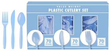 Pastel Blue Plastic Cutlery Set 210ct