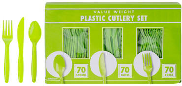 Kiwi Green Plastic Cutlery Set 210ct