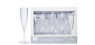 CLEAR Premium Plastic Champagne Flutes 8ct