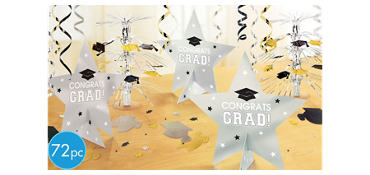 Black & Gold Ultimate Graduation Table Decorating Kit 88pc
