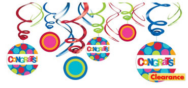 Congratulations Swirl Decorations 12ct - Cabana Polka Dot