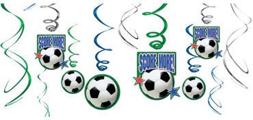 Soccer Hanging Swirl Decorations 12ct