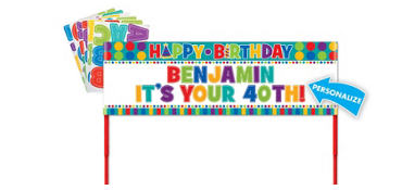Happy Birthday Personalized Yard Sign - Dots & Stripes