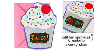 Premium Glitter Cupcake Invitations 8ct