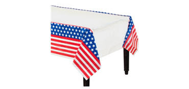 Red, White & Blue Patriotic Plastic Table Cover