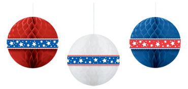 Patriotic Honeycomb Balls 3ct