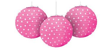 Bright Pink Polka Dot Paper Lanterns 9 1/2in 3ct