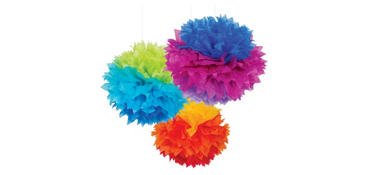 Rainbow Fluffy Decorations 3ct