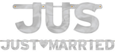 Silver Just Married Banner 5 1/2ft