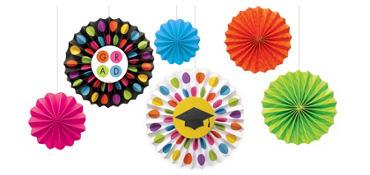Colorful Commencement Fan Decorations 6ct