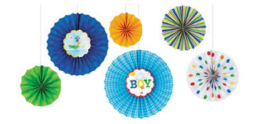 Ahoy Baby Boy Paper Fan Decorations 6ct