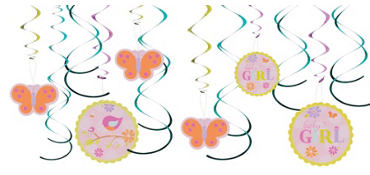 Tweet Baby Girl Swirl Decorations 12ct