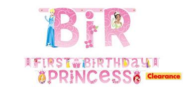 Disney Princess 1st Birthday Banners 2ct