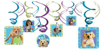 Party Pups Swirl Decorations 12ct