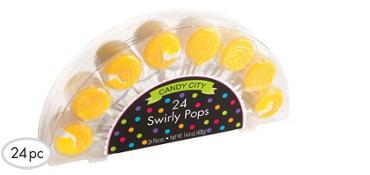 Swirly Yellow Lollipops 24pc