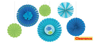 Cool Sea Paper Fan Decorations 6ct