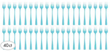 Mini Caribbean Blue Plastic Forks 40ct