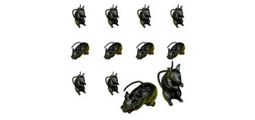 Rubber Black Rats 24ct