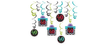 Celebrate 40th Birthday Swirl Decorations 12ct