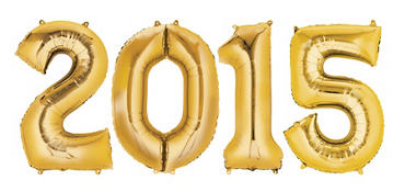 Gold 2015 Number Balloons