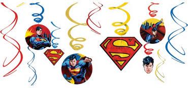 Superman Swirl Decorations 12ct