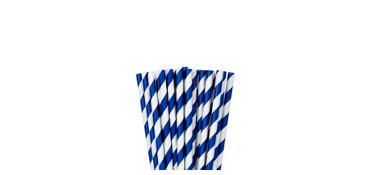 Royal Blue Striped Paper Straws 24ct