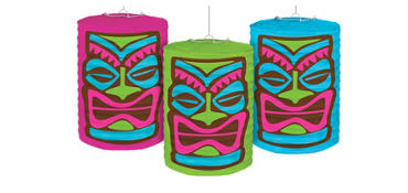 Tiki Paper Lanterns 3ct