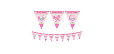 Girl Welcome Baby Pennant Banner - Welcome Little One