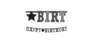 Giant Black & White Happy Birthday Letter Banner