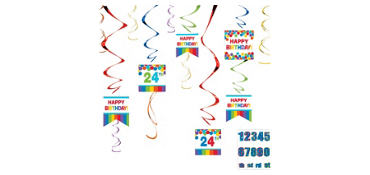 Rainbow Birthday Swirl Decorations Kit