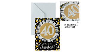 Premium Prismatic 40th Birthday Invitations 8ct - Sparkling Celebration