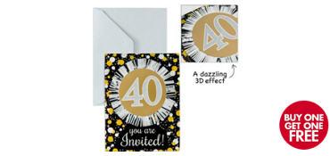 Premium Prismatic 40th Birthday Invitations 8ct - Sparkling Celebration