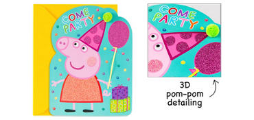 Premium Glitter Peppa Pig Invitations 8ct