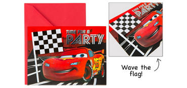 Premium Cars Invitations with Flags 8ct