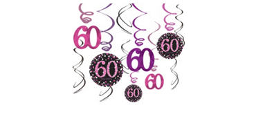 60th Birthday Swirl Decorations 12ct - Pink Sparkling Celebration