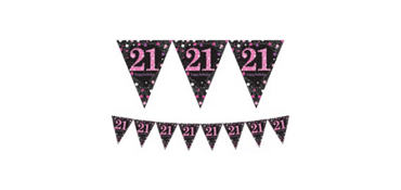 Prismatic 21st Birthday Pennant Banner - Pink Sparkling Celebration