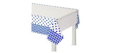 Royal Blue Polka Dot & Chevron Plastic Table Cover