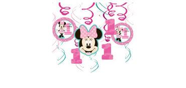 1st Birthday Minnie Mouse Swirl Decorations 12ct