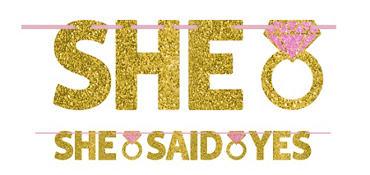 Glitter Gold She Said Yes Letter Banner