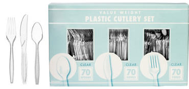 Clear Cutlery Set 210pc