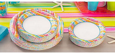 Sunny Plaid Value Plates & Tableware