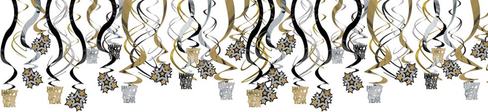 black gold silver new years swirl decorations 30ct - Gold Decorations