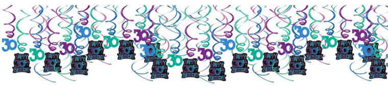The Party Continues 30th Birthday Swirl Decorations 30ct
