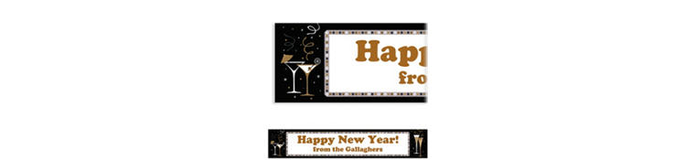 Custom Let's Toast New Year's Banner 6ft