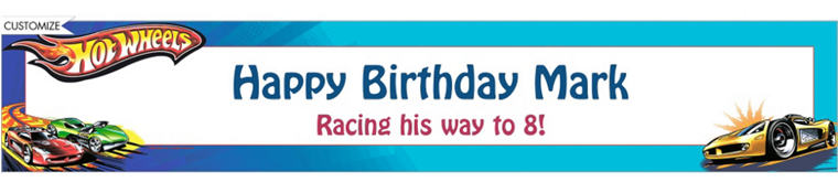 Hot Wheels Custom Birthday Banner 6ft