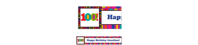Custom Birthday Dots & Stripes 100th Birthday Banner 6ft